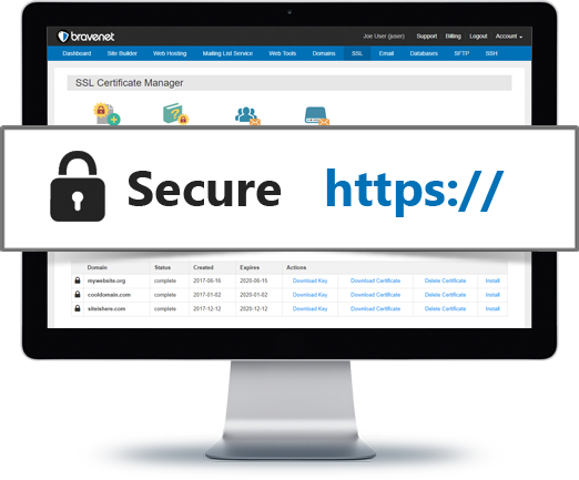 Bravenet provides HTTPS SSL Secure Hosting